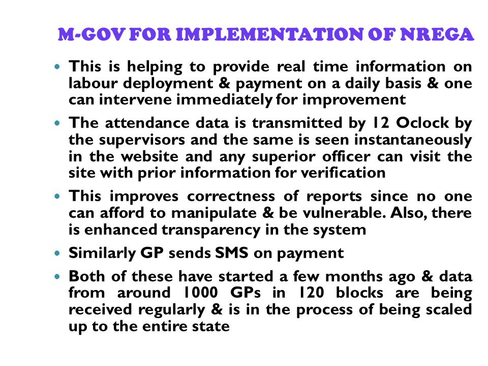 M-GOV FOR IMPLEMENTATION OF NREGA