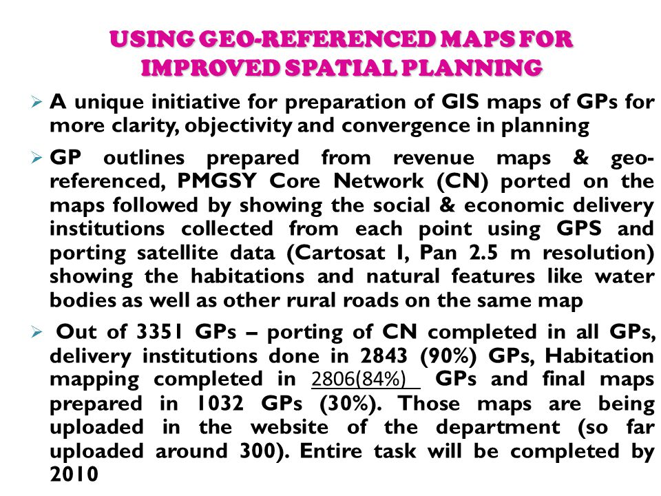 USING GEO-REFERENCED MAPS FOR IMPROVED SPATIAL PLANNING