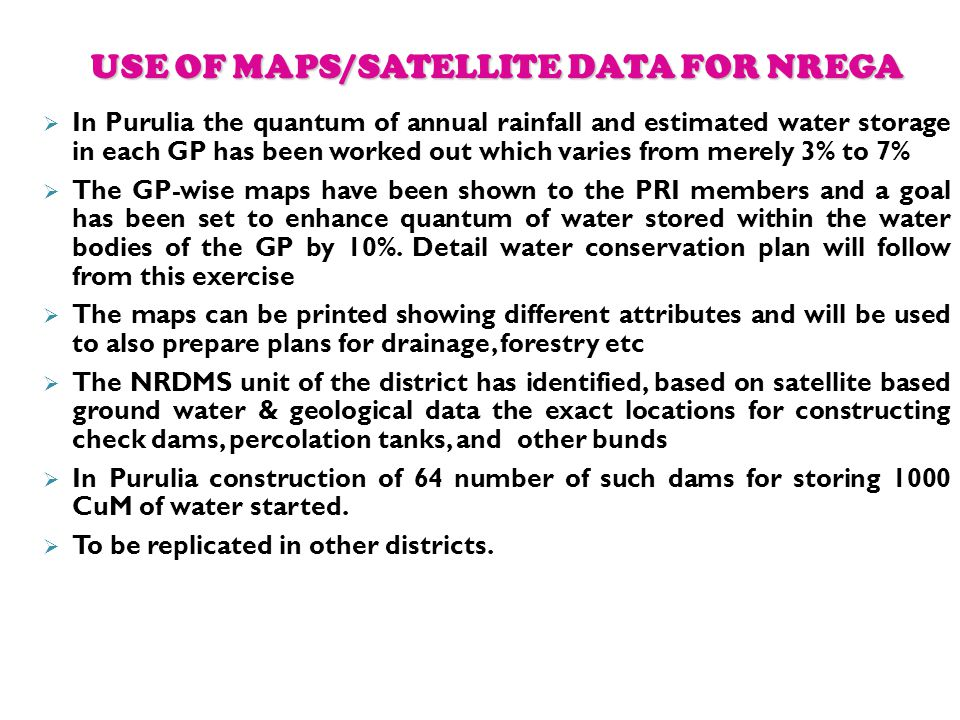USE OF MAPS/SATELLITE DATA FOR NREGA