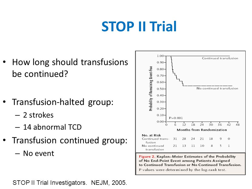 STOP II Trial How long should transfusions be continued