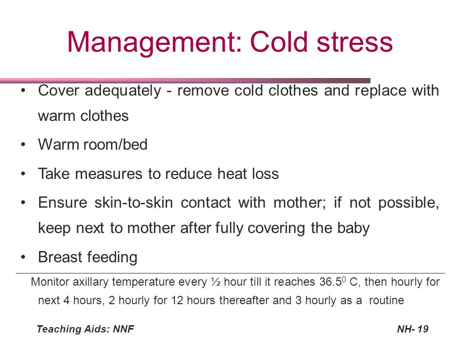 Management: Cold stress