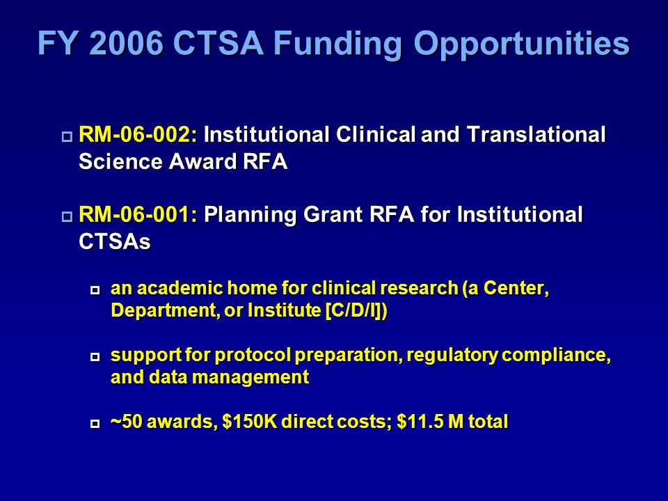 FY 2006 CTSA Funding Opportunities