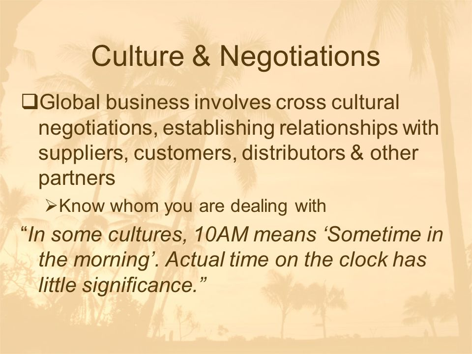 Culture & Negotiations
