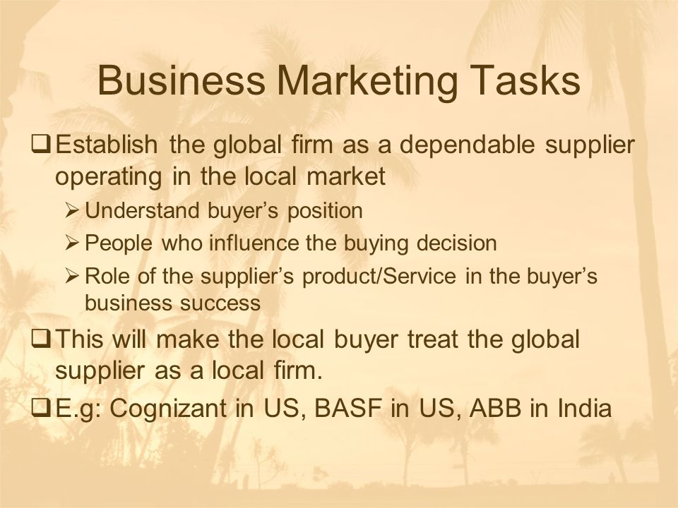 Business Marketing Tasks
