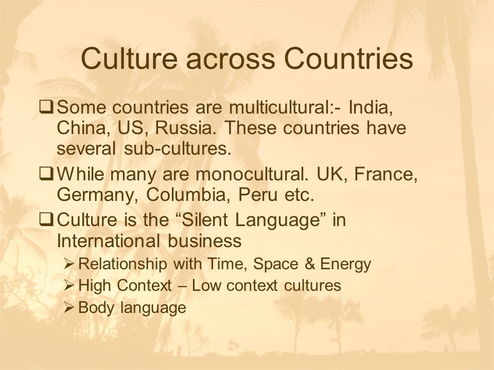 Culture across Countries