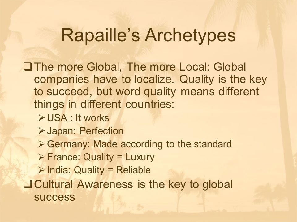 Rapaille's Archetypes