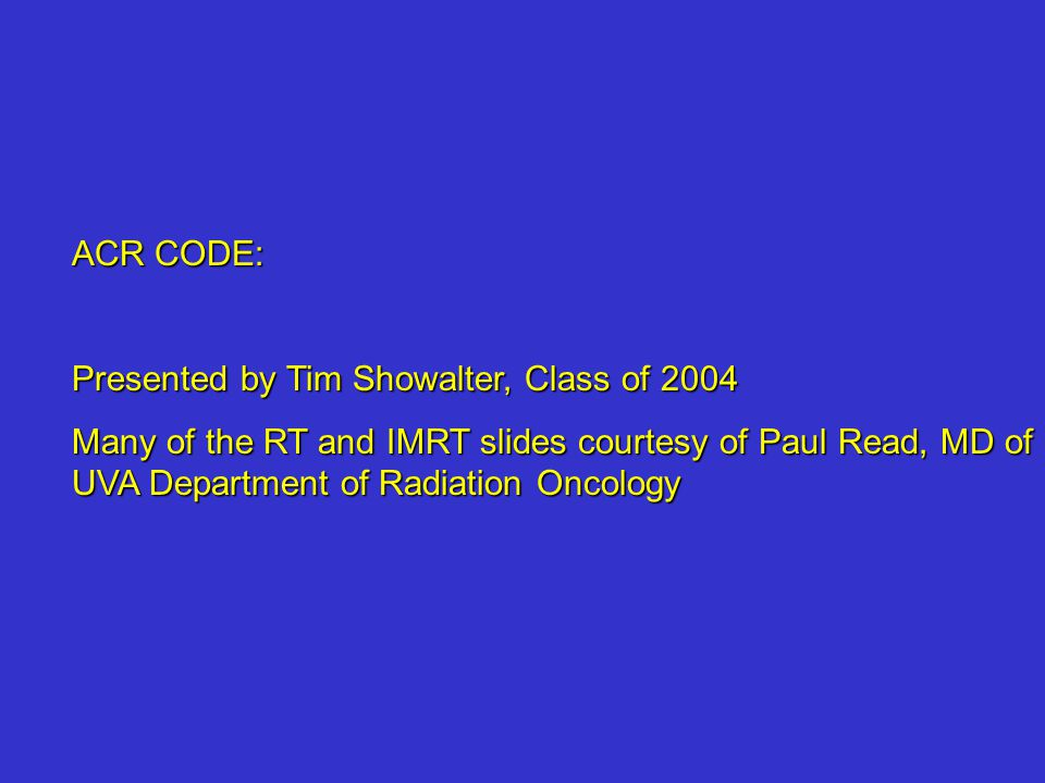 ACR CODE: Presented by Tim Showalter, Class of 2004.