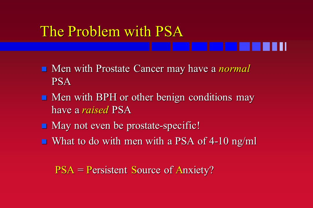 The Problem with PSA Men with Prostate Cancer may have a normal PSA