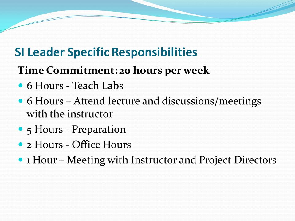 SI Leader Specific Responsibilities