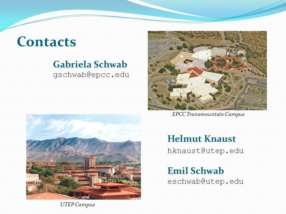 Contacts Gabriela Schwab Helmut Knaust hknaust@utep.edu