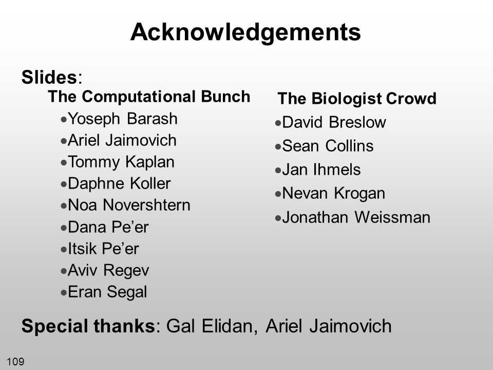 Acknowledgements Slides: Special thanks: Gal Elidan, Ariel Jaimovich
