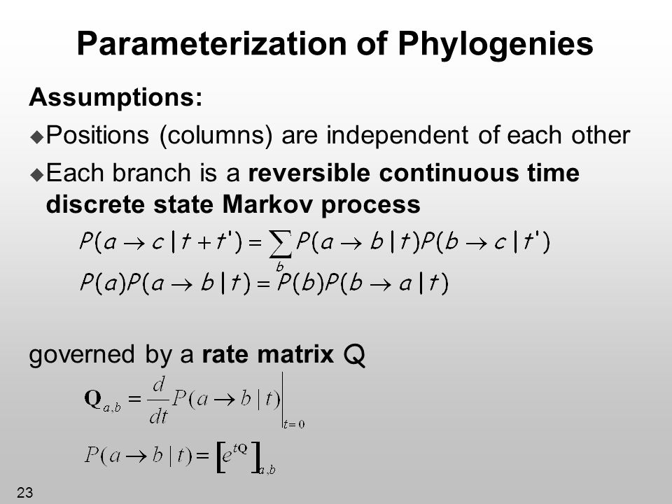 Parameterization of Phylogenies