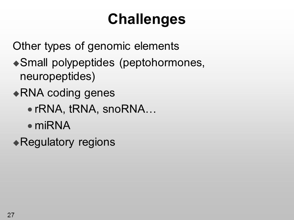 Challenges Other types of genomic elements