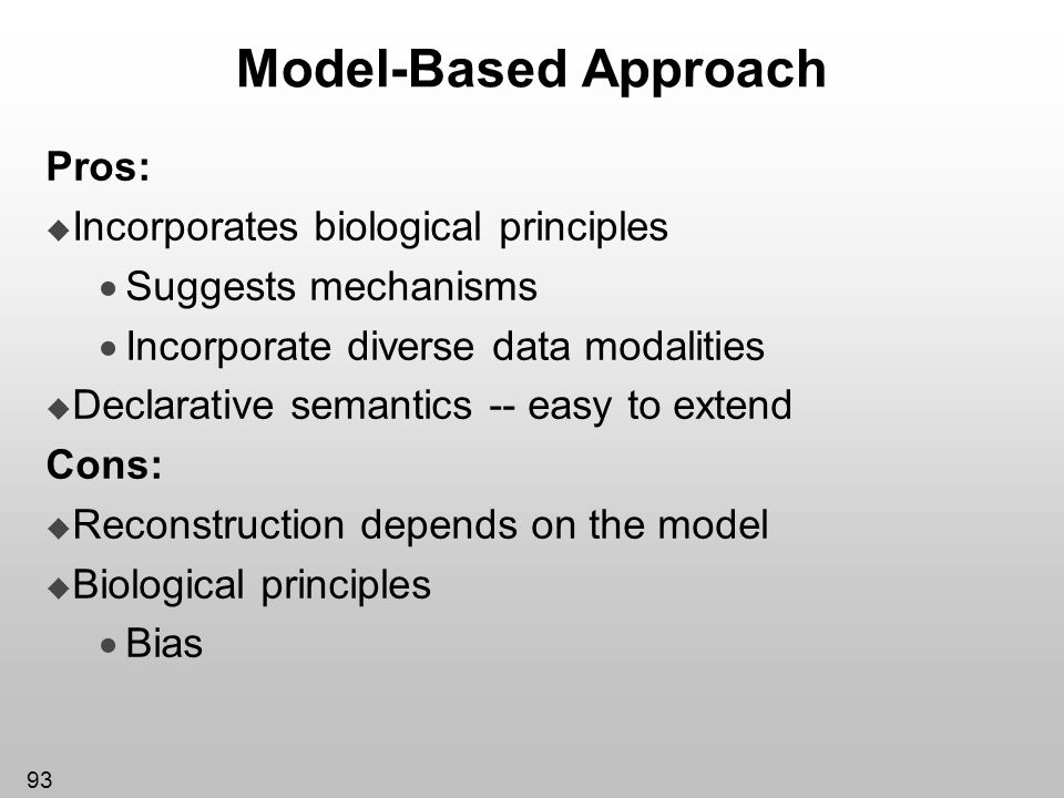 Model-Based Approach Pros: Incorporates biological principles