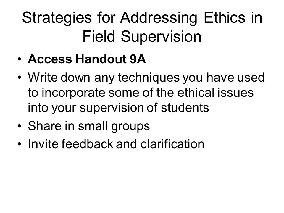 Strategies for Addressing Ethics in Field Supervision
