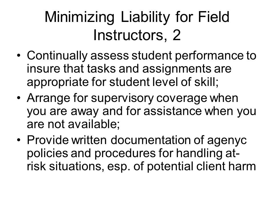 Minimizing Liability for Field Instructors, 2