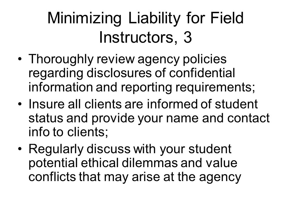 Minimizing Liability for Field Instructors, 3