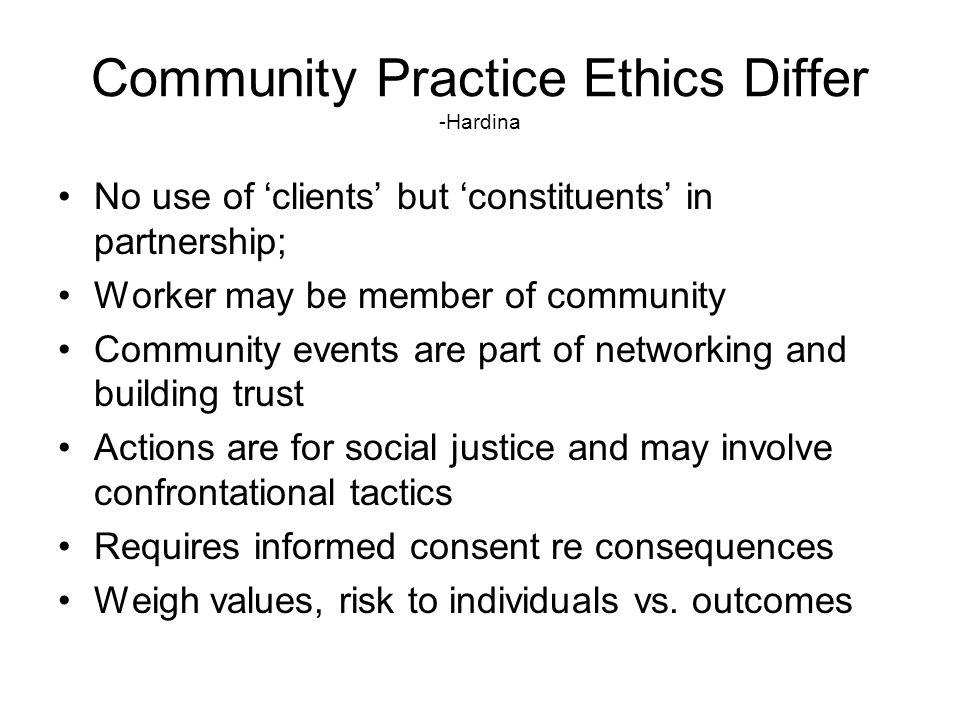 Community Practice Ethics Differ -Hardina