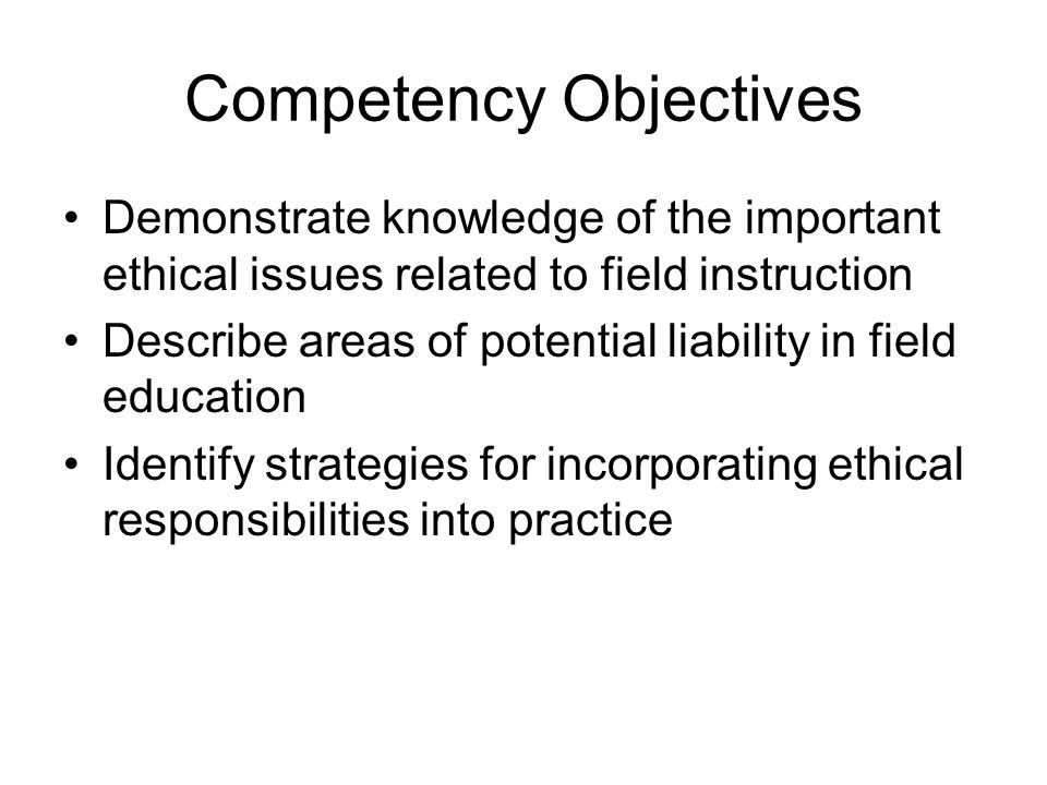 Competency Objectives
