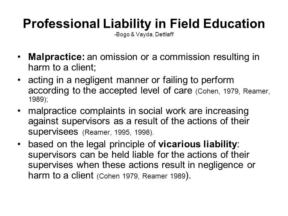 Professional Liability in Field Education -Bogo & Vayda, Dettlaff