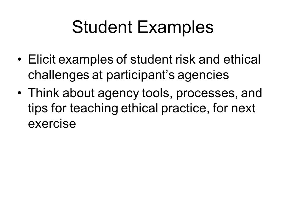 Student Examples Elicit examples of student risk and ethical challenges at participant's agencies.