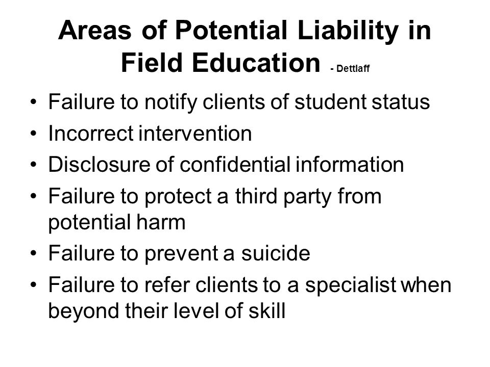 Areas of Potential Liability in Field Education - Dettlaff