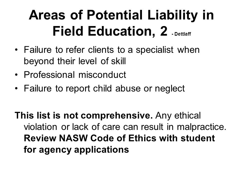 Areas of Potential Liability in Field Education, 2 - Dettlaff