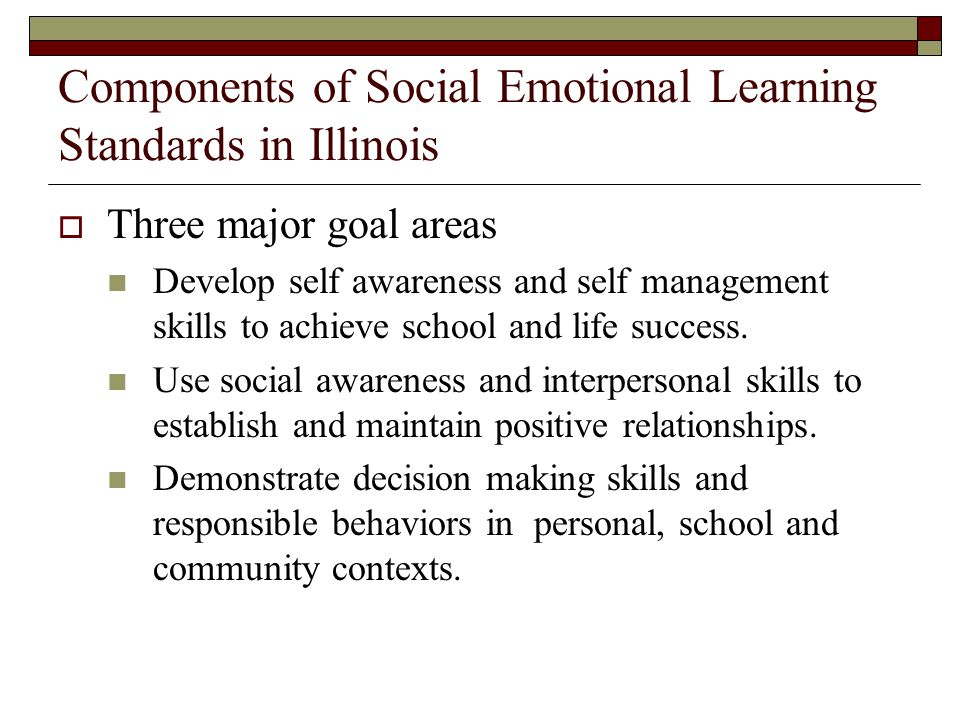 Components of Social Emotional Learning Standards in Illinois