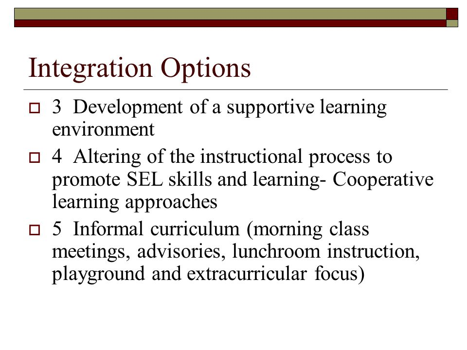 Integration Options 3 Development of a supportive learning environment