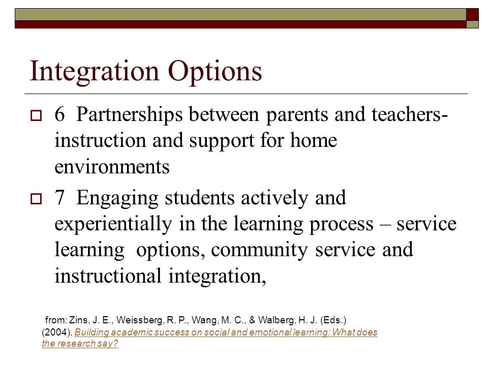 Integration Options 6 Partnerships between parents and teachers- instruction and support for home environments.