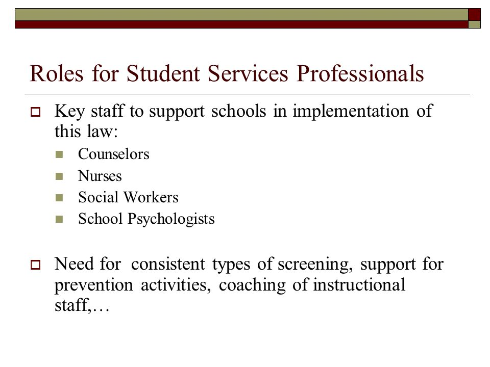 Roles for Student Services Professionals