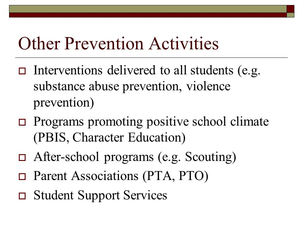 Other Prevention Activities
