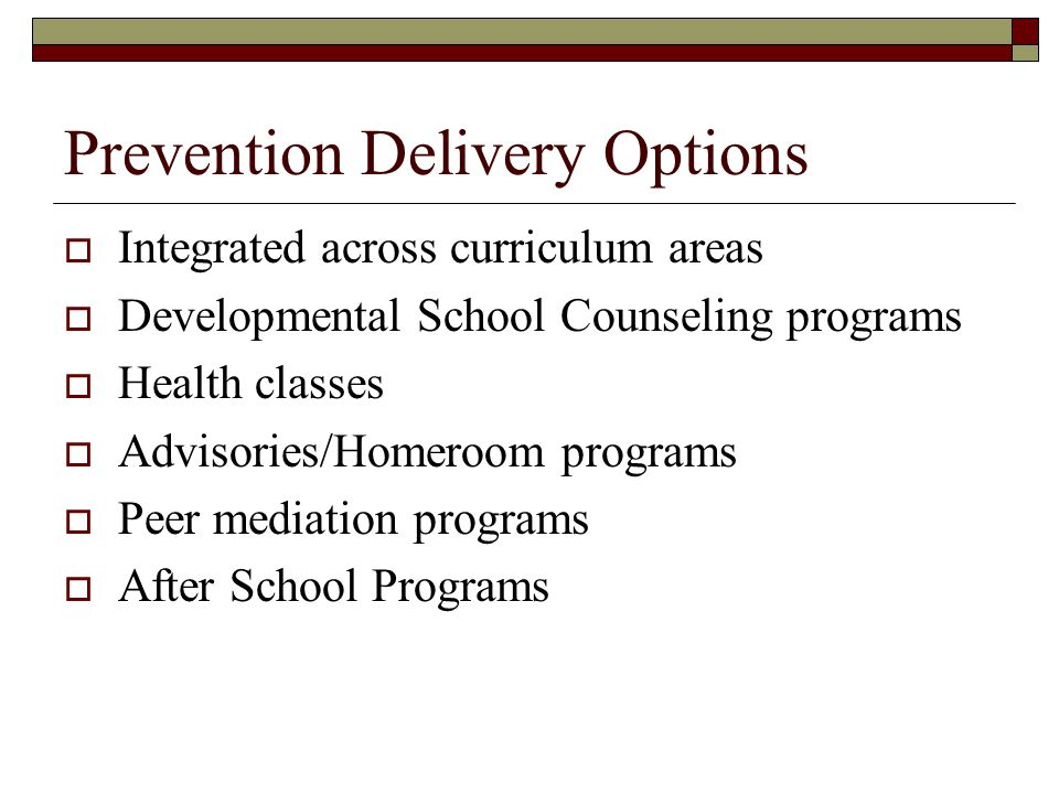 Prevention Delivery Options