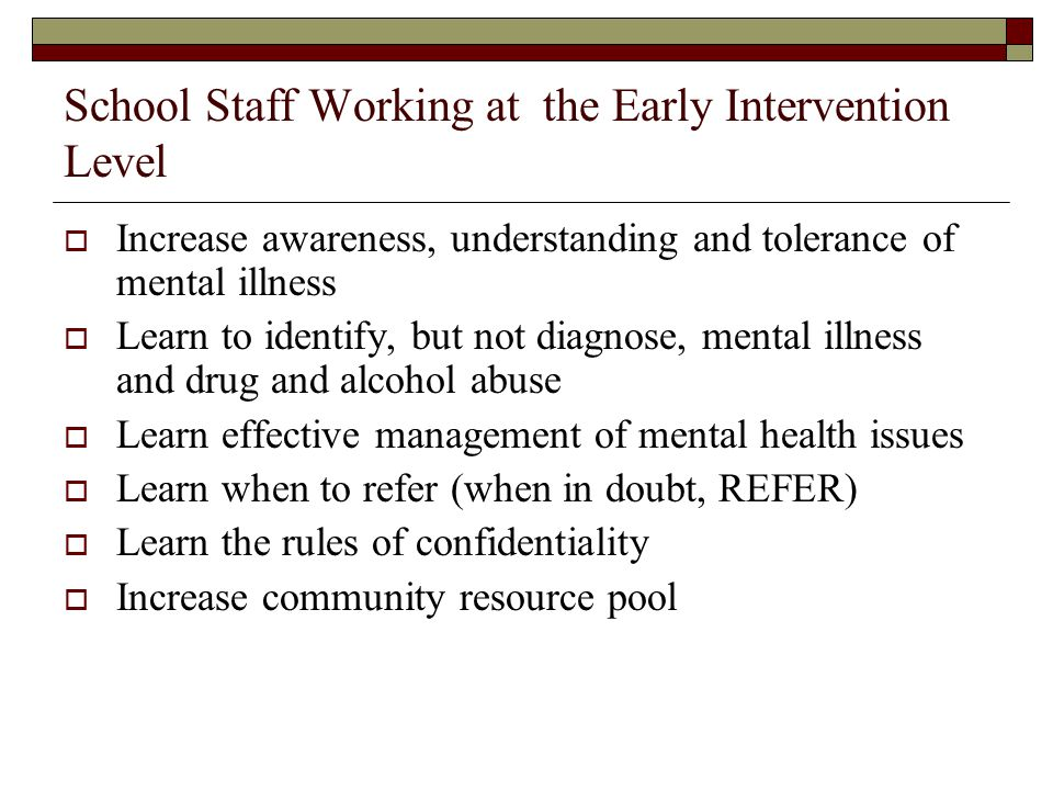School Staff Working at the Early Intervention Level