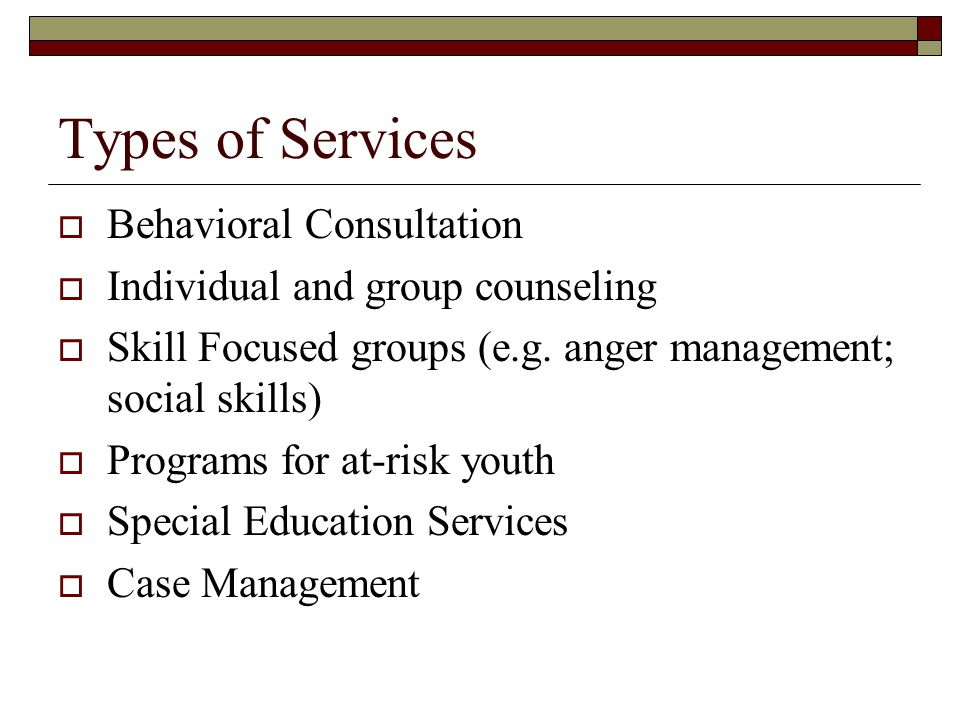 Types of Services Behavioral Consultation