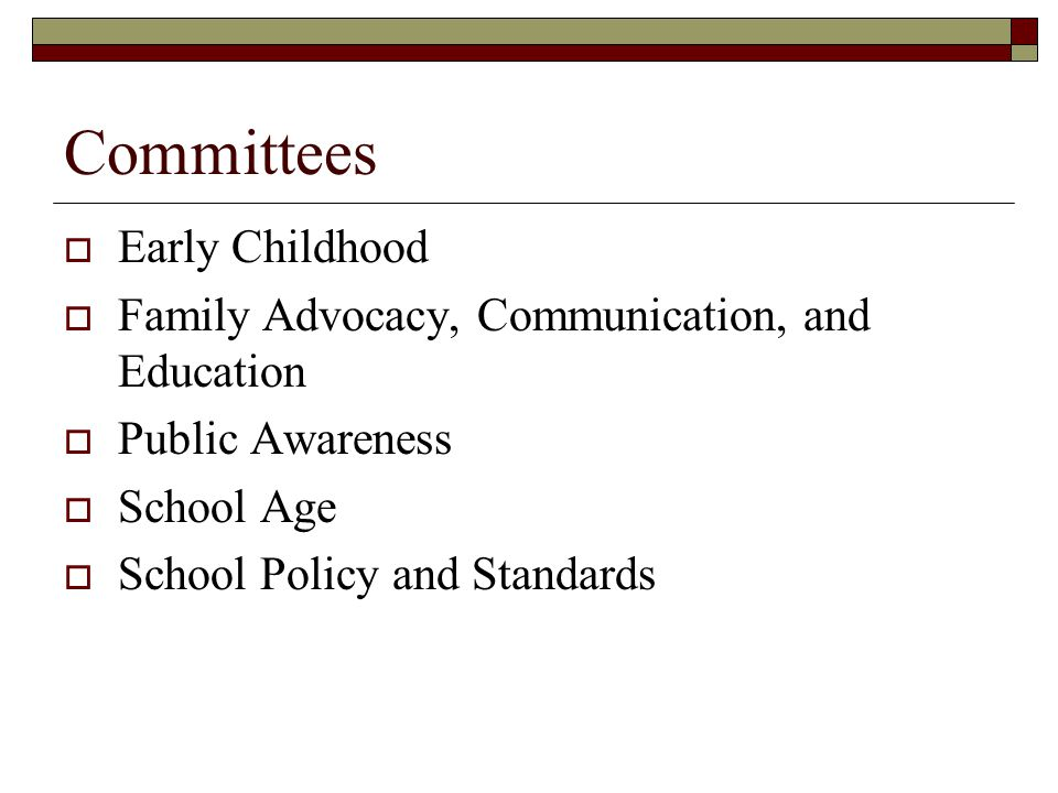 Committees Early Childhood