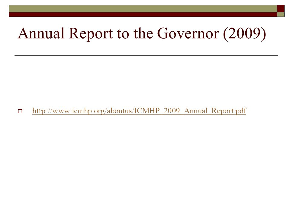 Annual Report to the Governor (2009)