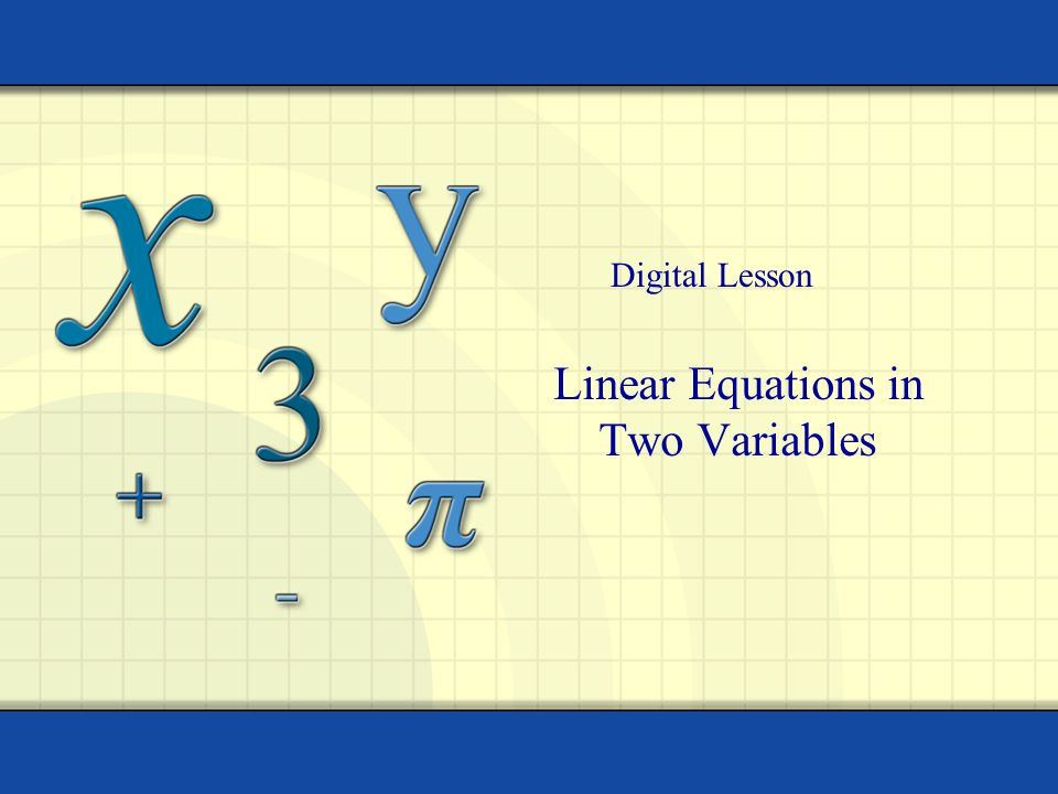 Linear Equations in Two Variables