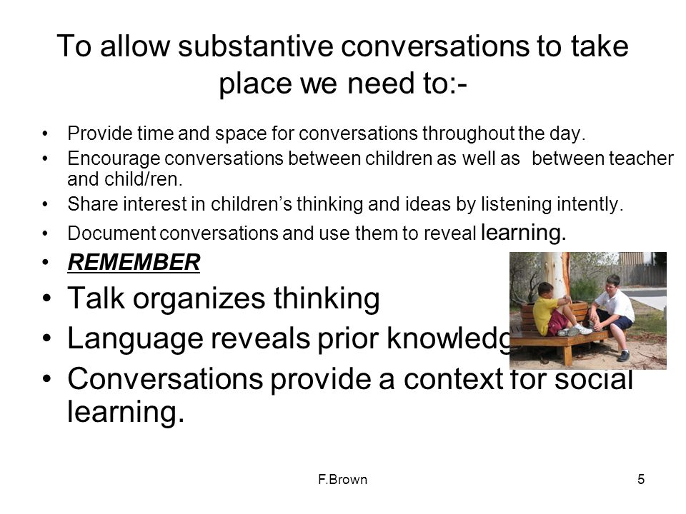 To allow substantive conversations to take place we need to:-