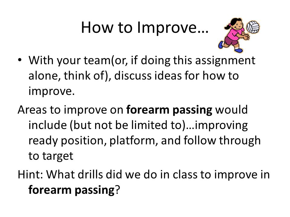 How to Improve… With your team(or, if doing this assignment alone, think of), discuss ideas for how to improve.