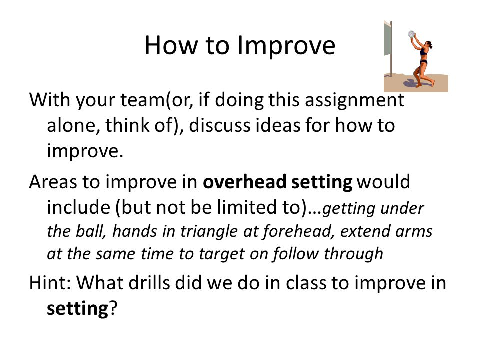 How to Improve With your team(or, if doing this assignment alone, think of), discuss ideas for how to improve.