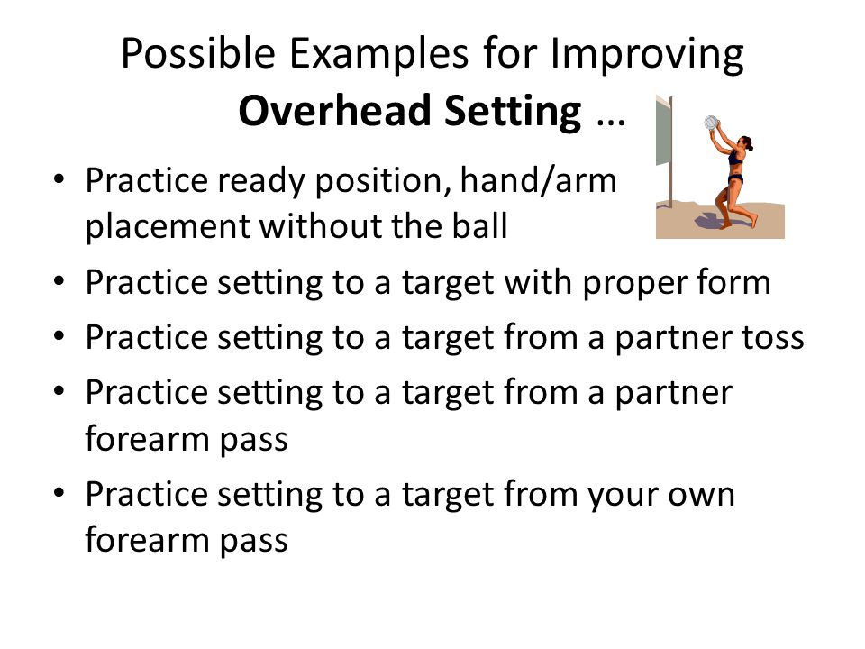 Possible Examples for Improving Overhead Setting …