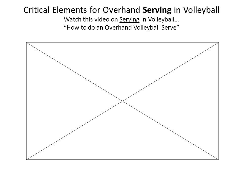 Critical Elements for Overhand Serving in Volleyball Watch this video on Serving in Volleyball… How to do an Overhand Volleyball Serve
