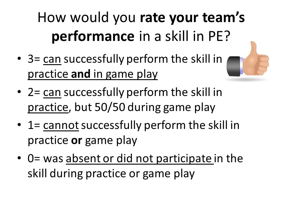 How would you rate your team's performance in a skill in PE