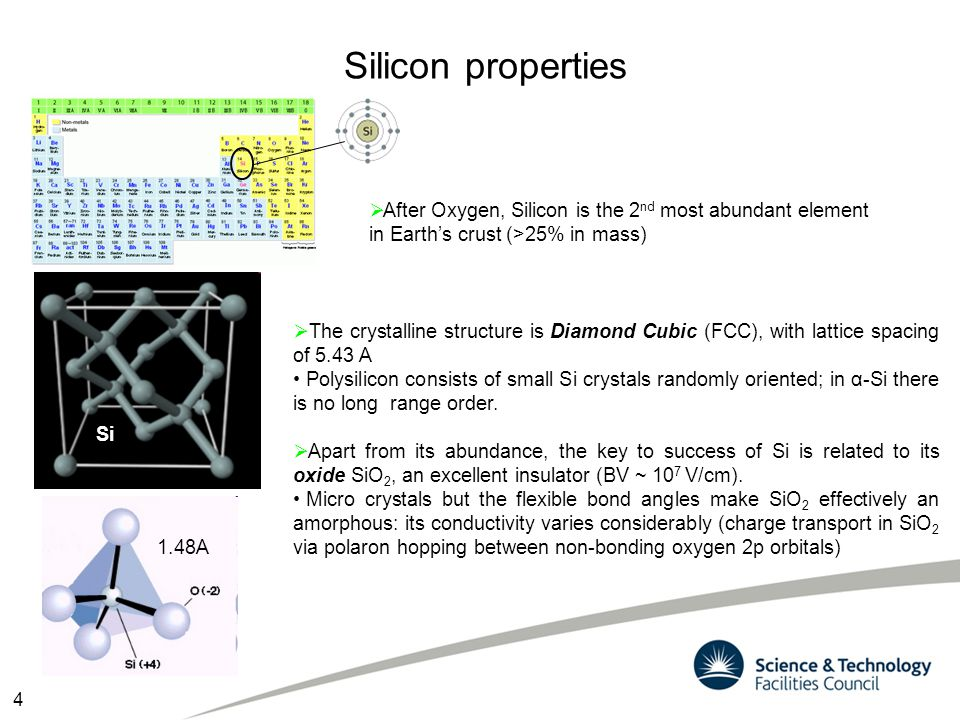 Silicon properties After Oxygen, Silicon is the 2nd most abundant element in Earth's crust (>25% in mass)