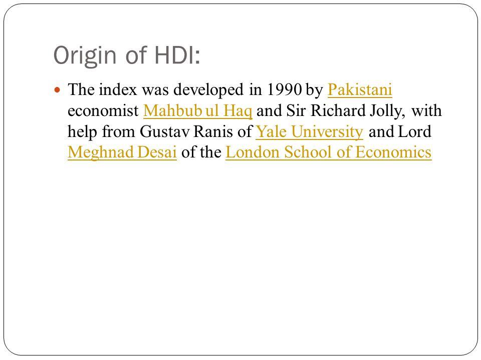 Origin of HDI:
