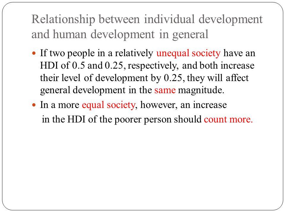 Relationship between individual development and human development in general