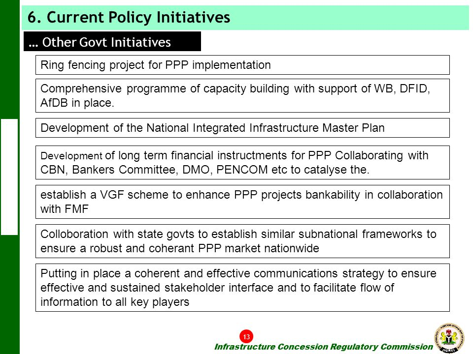 6. Current Policy Initiatives