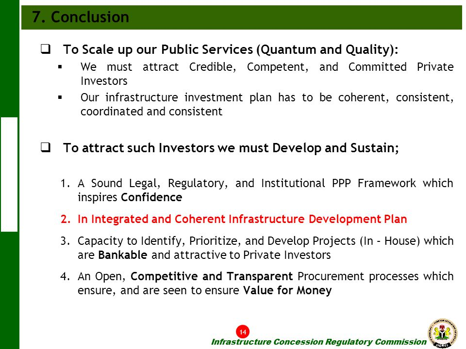7. Conclusion To Scale up our Public Services (Quantum and Quality):