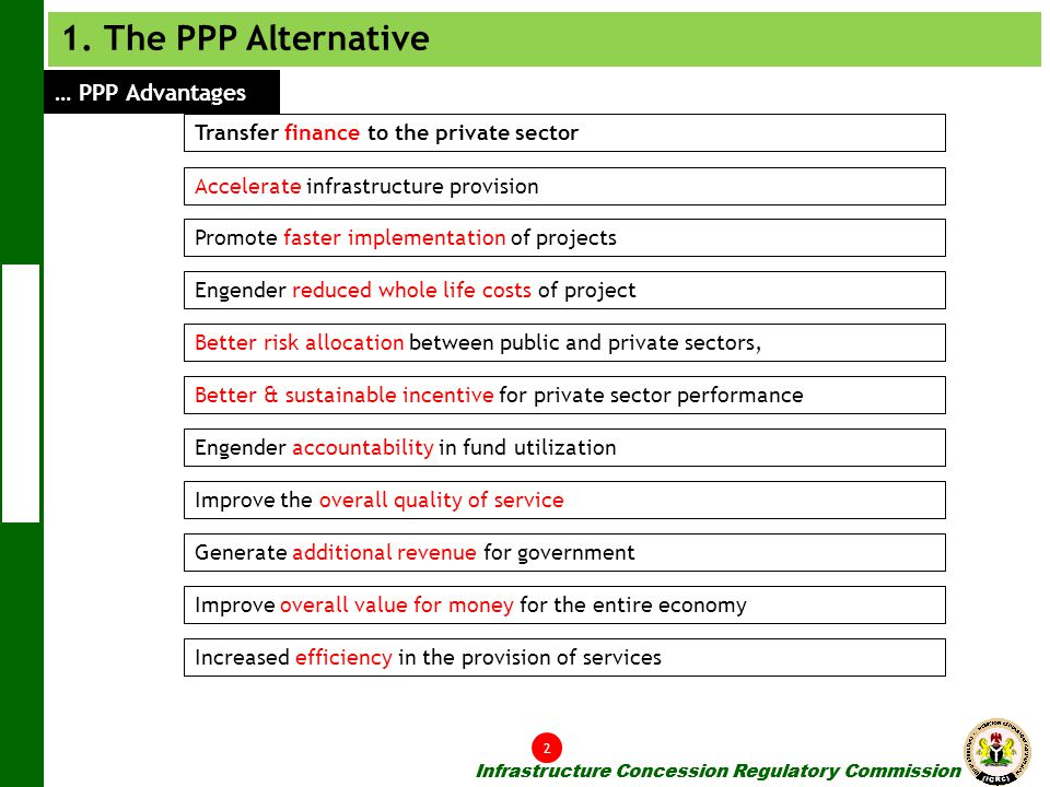 1. The PPP Alternative … PPP Advantages